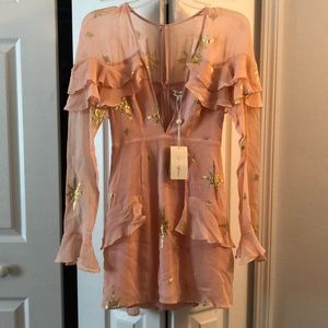 For Love and Lemons gilded star mini dress. NWT